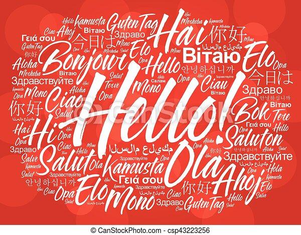 別, 単語, 言語, 世界, こんにちは, 雲 - csp43223256
