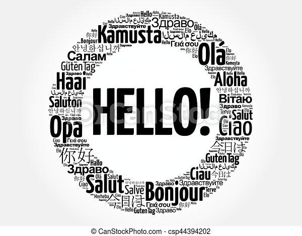 別, 単語, 言語, 世界, こんにちは, 雲 - csp44394202