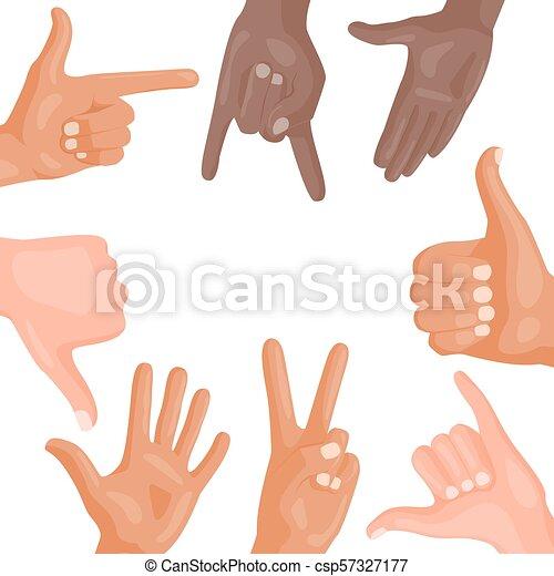 別, illustration., 人々, コミュニケーション, ジェスチャー, ベクトル, 人間の術中, メッセージ, deaf-mute, 腕 - csp57327177
