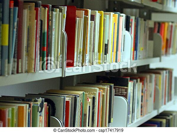 利用できる, 教育がある, 市の, 読者, 小説, 多数, 図書館, 本, ボリューム, エッセイ - csp17417919