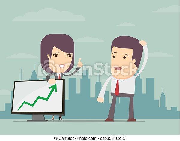 利益, 女, チャート, ビジネス, ポイント - csp35316215