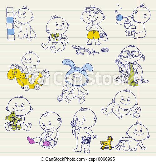到着, 男の子, セット, いたずら書き, -, デザイン, シャワー, 赤ん坊, ベクトル, スクラップブック, カード, ∥あるいは∥ - csp10066995