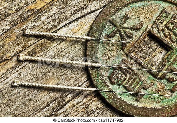 刺鍼術の 針, 中国語 硬貨 - csp11747902