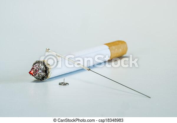 刺鍼術, 喫煙, 止まれ - csp18348983