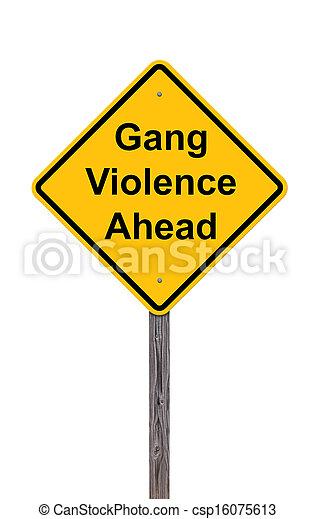 前方に, 暴力, -, 印, 注意, ギャング, 白 - csp16075613