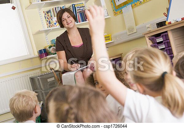 前景, 自発的に申し出る, クラス, 学生, focus), (selective, 教師 - csp1726044