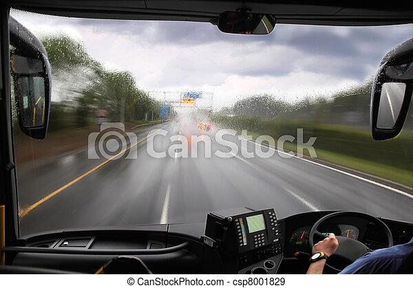 前部, バス, 雨, 窓, 道 - csp8001829