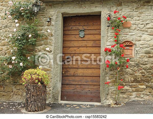 前面, 玫瑰, 裝飾, 門, 攀登 - csp15583242