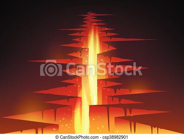 割れた 穴 溶岩 地面 火 イラスト マグマ ベクトル 溶岩 割れた