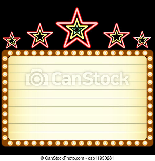 劇場, 星, marquee, カジノ, ネオン, 映画, の上, ブランク, ∥あるいは∥ - csp11930281