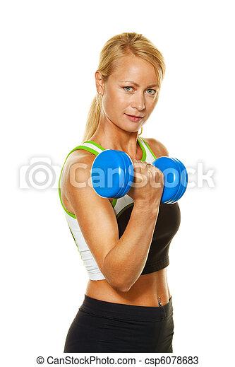 力量訓練, 婦女, 重量, 當時 - csp6078683