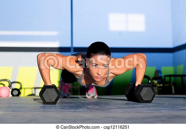力量, 體操, 俯臥撐, 婦女, pushup, dumbbell - csp12116251
