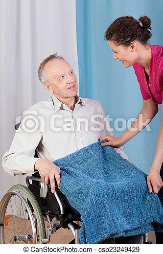 助力, 不具, 看護婦, 人 - csp23249429