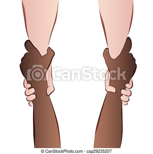 助力, interracial, セービング, 手 - csp29235207