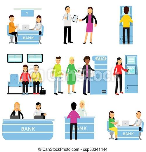 助言する, 平ら, 別, 人々, お金, 従業員, モデル, situations., 顧客, 得ること, atm., ベクトル, クライアント, 列, コンサルタント, デザイン, 銀行, 人 - csp53341444