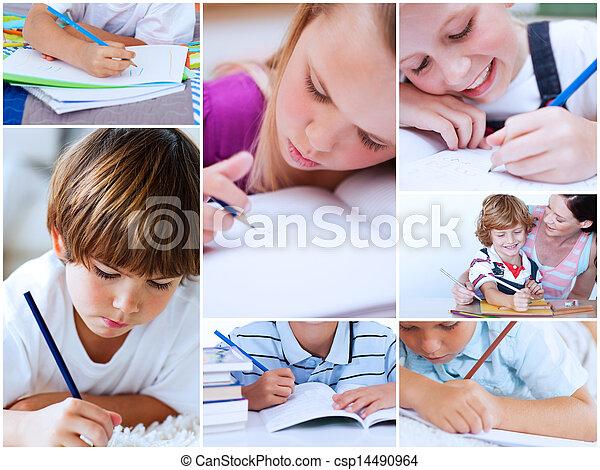 勉強, コラージュ, 生徒 - csp14490964