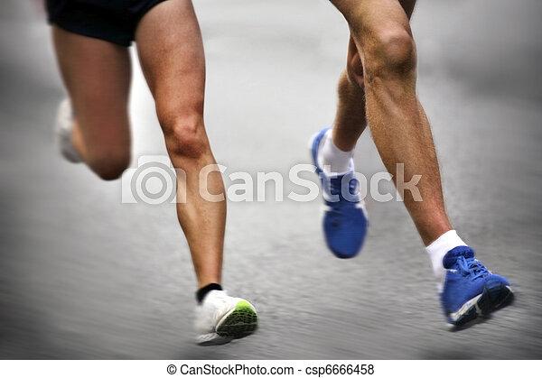 動き, -, マラソン走者, ぼんやりさせられた - csp6666458