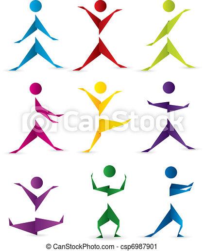 動き, origami, 人々 - csp6987901