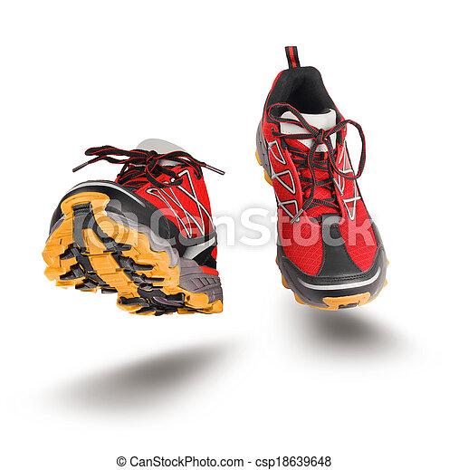 動くこと, スポーツの靴, 赤 - csp18639648