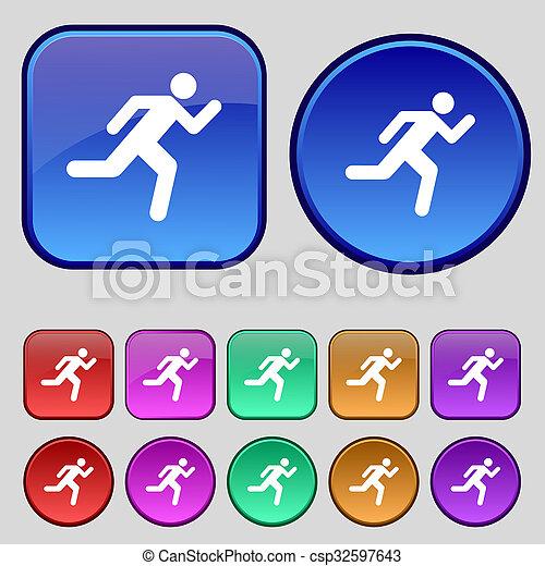 動くこと, ボタン, あなたの, 人, アイコン, セット, 印。, 型, 12, design. - csp32597643