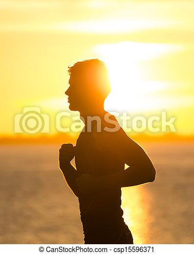 動くこと, 浜, 日の出, 人 - csp15596371