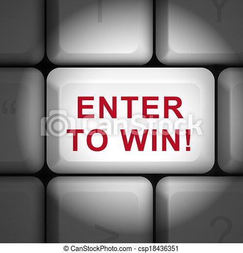 勝利, ボタン, 3d, 言葉, 入りなさい - csp18436351