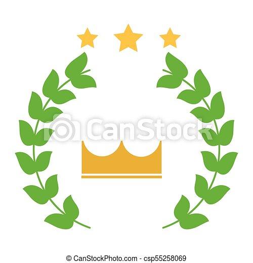 勝者, 紋章, イメージ, 花輪, 王冠, 星, 月桂樹 - csp55258069