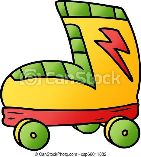 勾配, いたずら書き, ブーツ, スケート, 漫画, ローラー - csp66011882