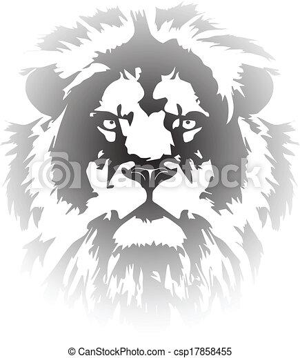 勾配, 入れ墨, ライオン, 頭 - csp17858455