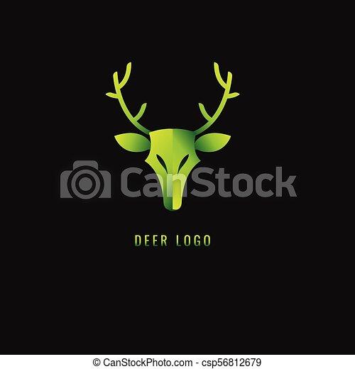 勾配, 鹿, シンボル。, 暗い, バックグラウンド。, ベクトル, 緑, logo. - csp56812679