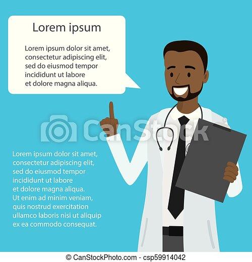 医者, アメリカ人, スピーチ, アフリカ, 泡, 漫画 - csp59914042