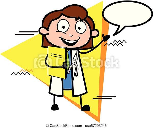 医者, ベクトル, スピーチ泡, 漫画, 幸せ - csp67293246