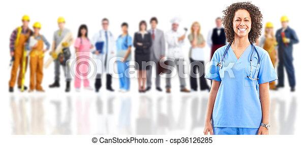 医者, 上に, group., 医学, 微笑, 労働者 - csp36126285
