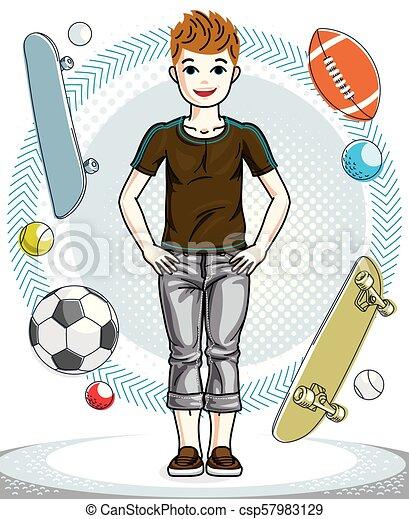 十代, かわいい, ファッション, clipart., 男の子, 身に着けていること, character., 若い, clothes., 主題, ベクトル, ポーズを取る, 偶然, 幸せ - csp57983129
