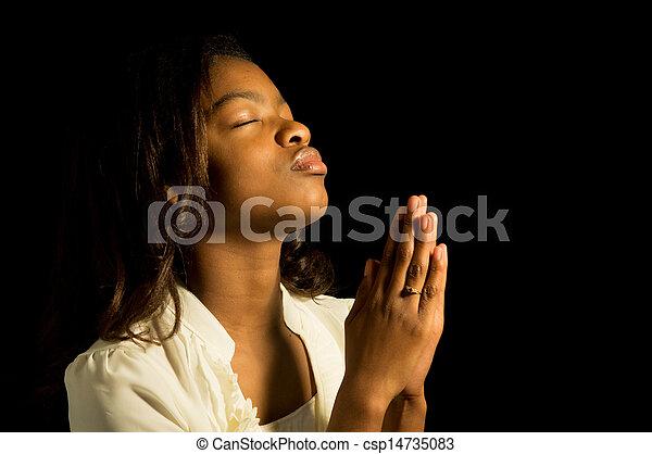 十代, アメリカ人, 祈ること, アフリカ - csp14735083