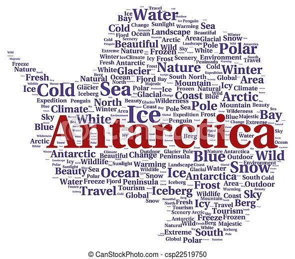 南極大陸, 単語, 形, 雲 - csp22519750
