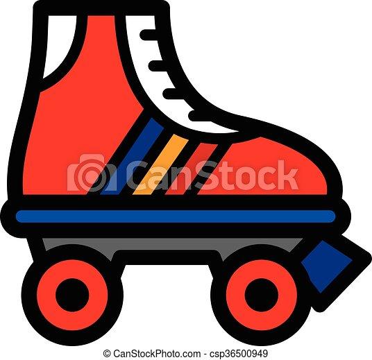 単一, スケート, カラフルである, ローラー - csp36500949