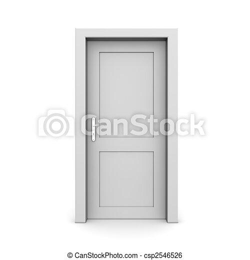 単一, ドア, 灰色, 閉じられた - csp2546526