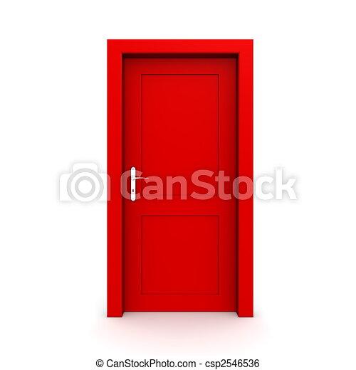 単一, ドア, 閉じられた, 赤 - csp2546536