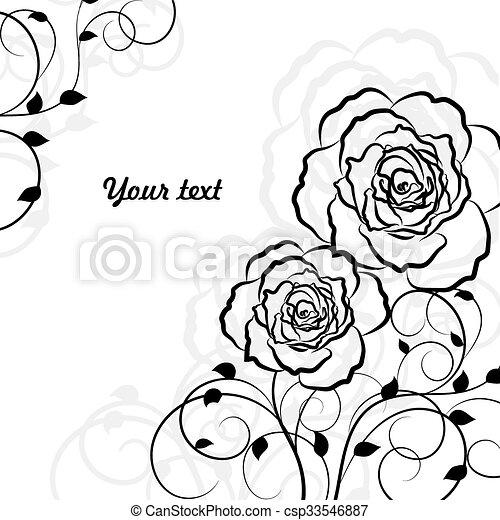 単純である, 隔離された, バックグラウンド。, 黒い背景, 花, 白 - csp33546887