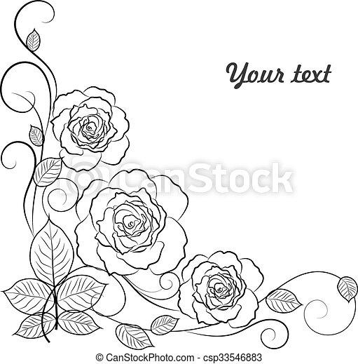 単純である, text., 黒い背景, 花, 場所, 白, あなたの - csp33546883