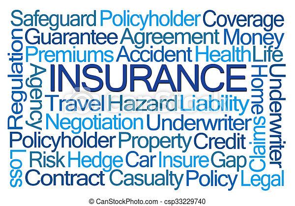 単語, 保険, 雲 - csp33229740