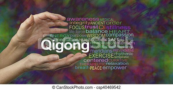 単語, 治癒, 雲, qigong - csp40469542