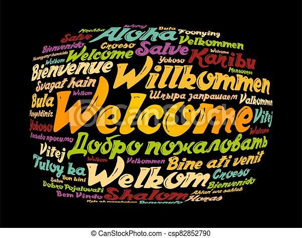 単語, 雲, 歓迎, 言語, 別 - csp82852790
