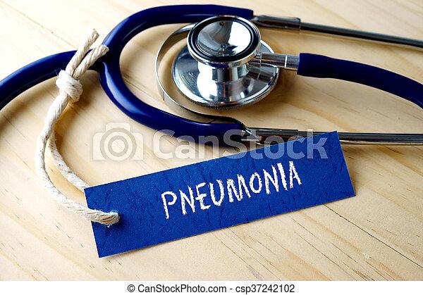 単語, pneumonia, 木製である, 医学, ラベル, バックグラウンド。, 書かれた, タグ, 聴診器, 概念的な イメージ - csp37242102