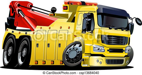 卡車, 卡通, 拖 - csp13684040