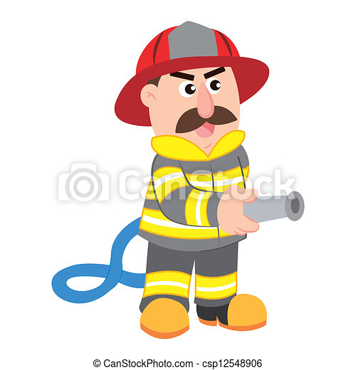 卡通漫画, 描述, 消防队员矢量