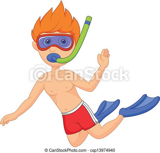 卡通, snorkeling, 孩子 - csp13974940
