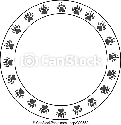 印刷品, 輪, bearpaw, 邊框 - csp2393852
