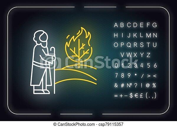 印, 白熱, 物語, ネオン, icon., flame., イラスト, 宗教, legend., 燃焼, アルファベット, 予言者, ライト, narrative., symbols., ブッシュ, 聖書, 木, ベクトル, 隔離された, moses, 数, 聖書 - csp79115357
